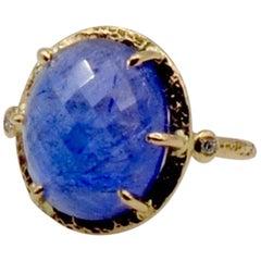 Tanzanite Rose Cut Set in 14 Karat Gold with Side Diamonds Ring