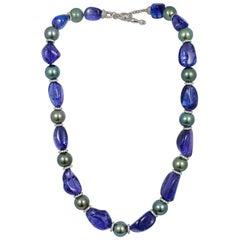 Goshwara Tanzanite and South Sea Pearls with Diamond Rondelles Necklace