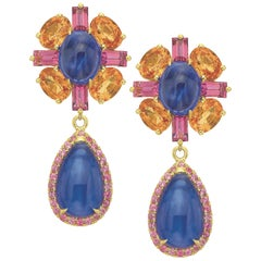Tanzanite, Spessartite Garnet and Pink Tourmaline Day to Night Earrings