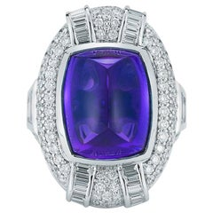 Tanzanite Sugarloaf Cabochon and Diamond Ring by Takat