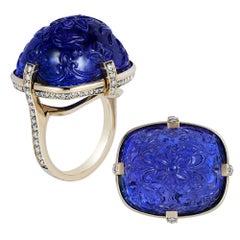 Goshwara Carved Sugarloaf Tanzanite And Diamond Ring
