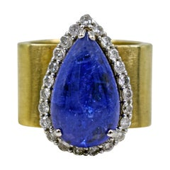Tanzanite Teardrop Diamond Halo 14 Karat Gold Cocktail Ring