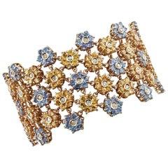 Tanzanite Topaz Rose Gold Little Flowers Link Bracelet