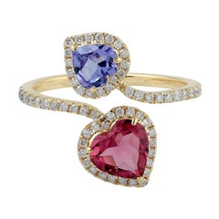 Tanzanite Tourmaline Diamond 18 Karat Gold Heart Ring