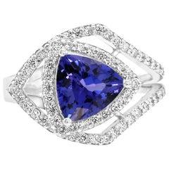 Tanzanite Trillion Diamond Round Double Halo Fashion Cocktail White Gold Ring
