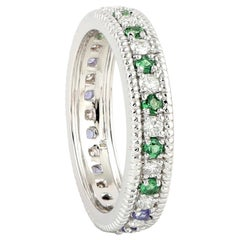 Tanzanite Tsavorite Diamond 18 Karat Gold Eternity Ring