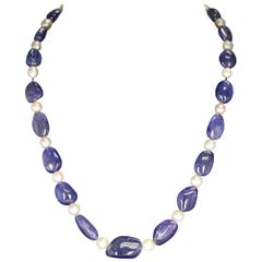 Tanzanite Tumbled Beads and Pearl Necklace, 14 Karat Yellow Gold Clasp