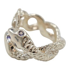 Purple Tanzanite Snake Ring Silver Adjustable Onesize Genderless  J Dauphin
