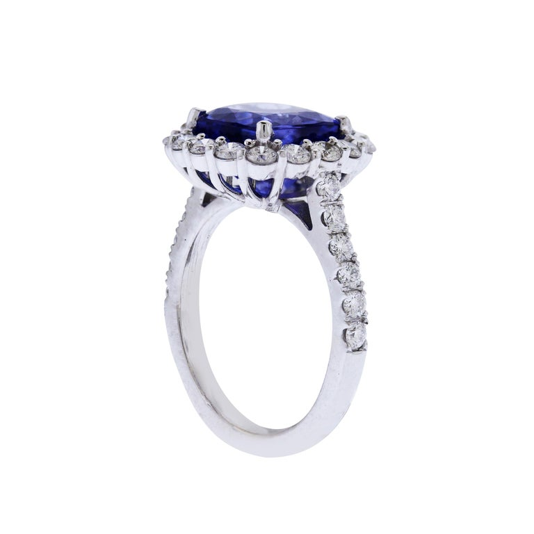 Women's Tanzanite White Gold and Diamond Ring For Sale