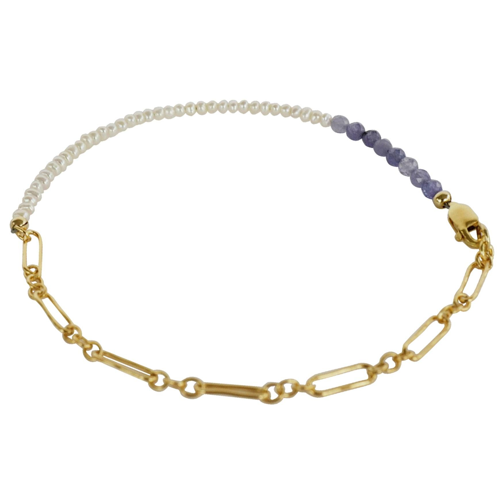 Tanzanite White Pearl Gold Filled Chain Beaded Ankle Bracelet J Dauphin