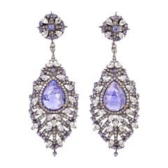 Tanzanite White Sapphire and Diamond Dangle Earring
