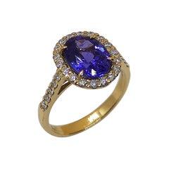 Tanzanite with Diamond Ring Set in 18 Karat Rose Gold Settings