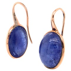 Tanzanite with Pink Gold 18 Karat Drop Earrings