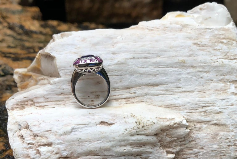 Tanzanite with Pink Sapphire and Diamond Ring Set in 18 Karat White Gold Setting For Sale 6