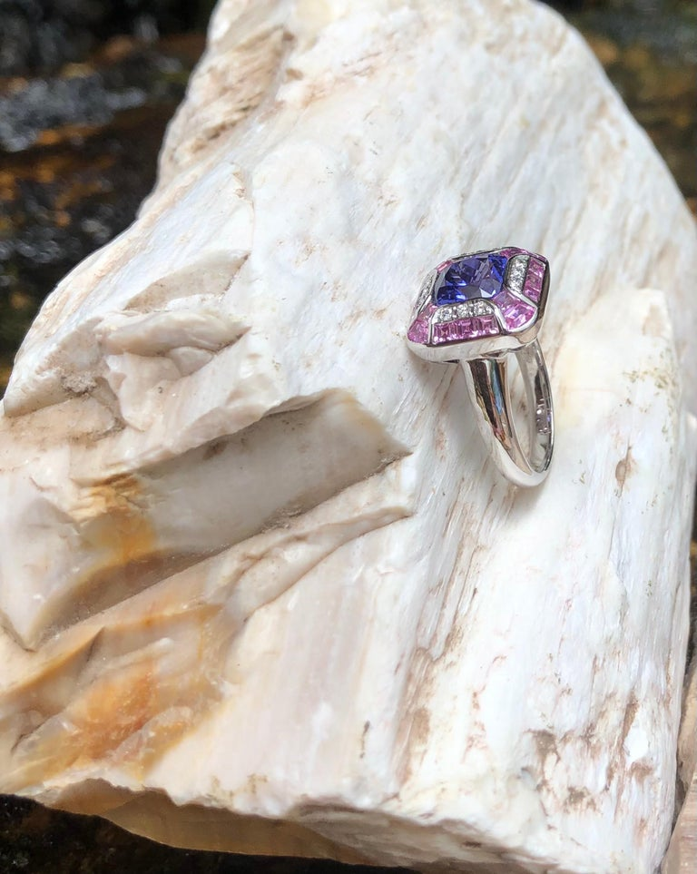 Tanzanite with Pink Sapphire and Diamond Ring Set in 18 Karat White Gold Setting For Sale 9