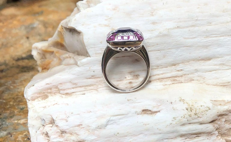 Tanzanite with Pink Sapphire and Diamond Ring Set in 18 Karat White Gold Setting For Sale 12