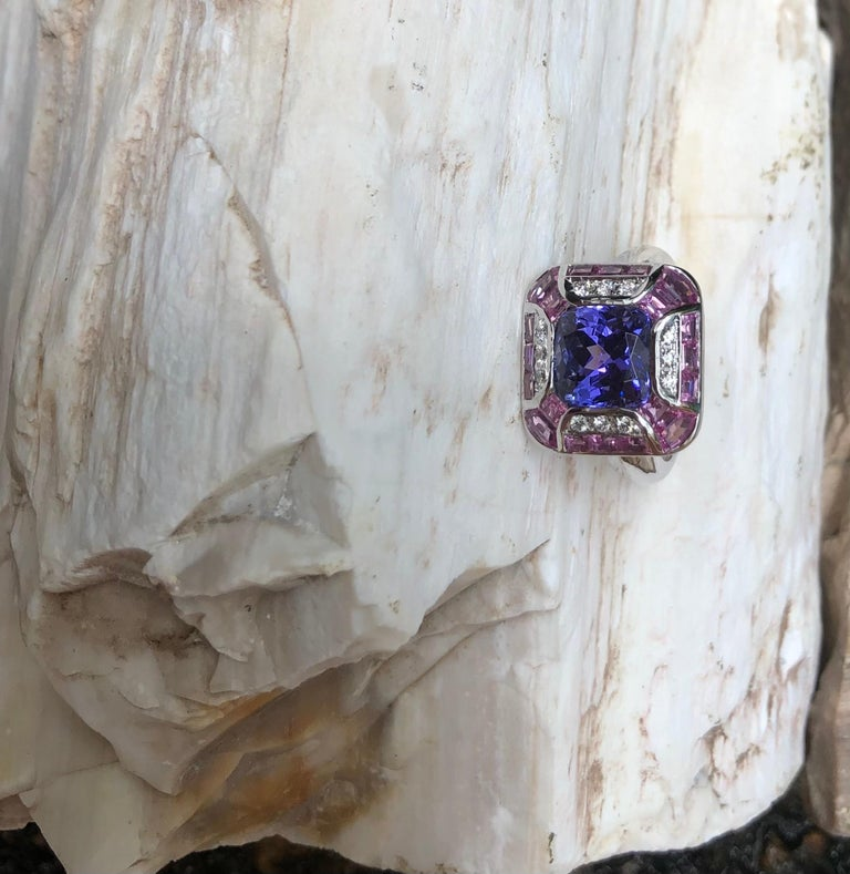 Tanzanite with Pink Sapphire and Diamond Ring Set in 18 Karat White Gold Setting For Sale 13