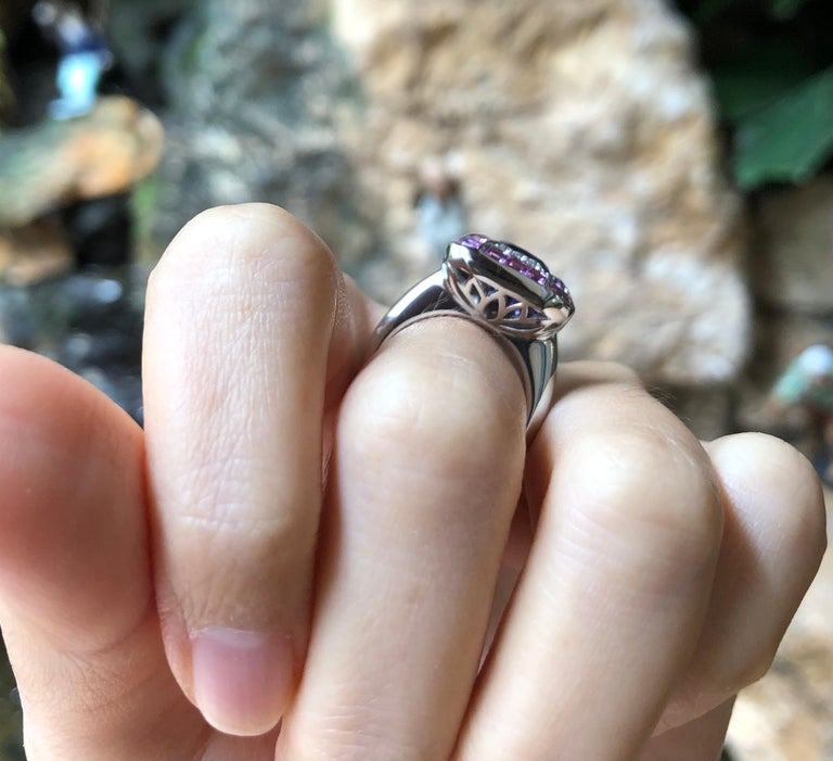 Art Deco Tanzanite with Pink Sapphire and Diamond Ring Set in 18 Karat White Gold Setting For Sale