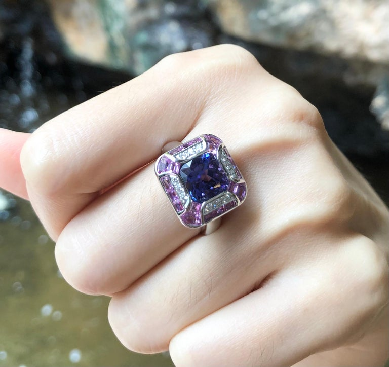 Women's or Men's Tanzanite with Pink Sapphire and Diamond Ring Set in 18 Karat White Gold Setting For Sale