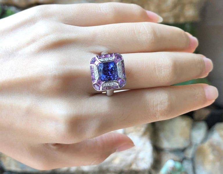 Tanzanite with Pink Sapphire and Diamond Ring Set in 18 Karat White Gold Setting For Sale 1