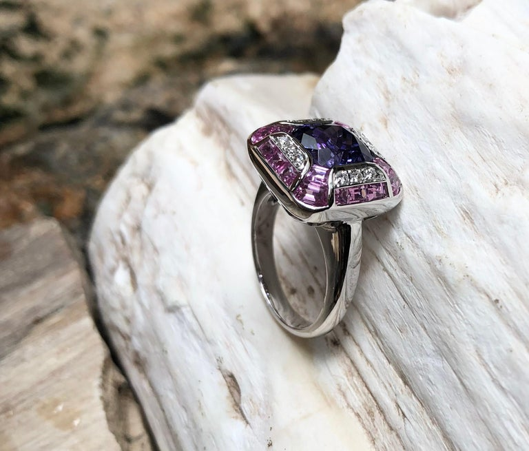 Tanzanite with Pink Sapphire and Diamond Ring Set in 18 Karat White Gold Setting For Sale 2
