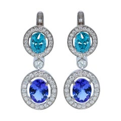 Tanzanite Zircon Diamond 18 Karat White Gold Earrings