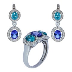 Tanzanite Zircon Diamond 18 Karat White Gold Ring Earrings Suite