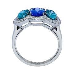 Tanzanite Zircon Diamond 18 Karat White Gold Ring