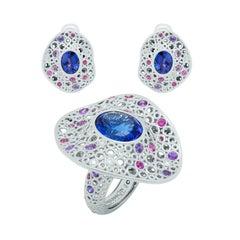 Tanzanites Diamonds Sapphires 18 Karat White Gold Bubble Suite