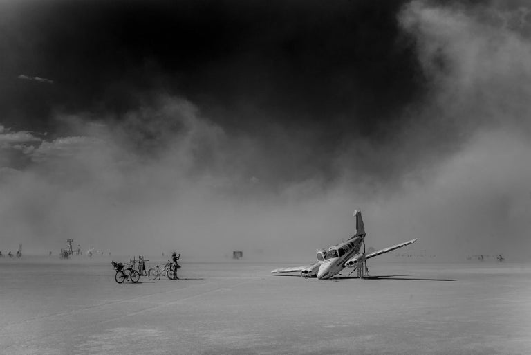 'Plane Crash at Black Rock' (Burning Man) Edition 2/10, 20x30cm, 2017, Black and White Print, printed on Velvet Watercolor, 310gsm, Bright White, Acid Free, Signature label and Certificate.  About Tao Ruspoli (born 7 November 1975) is an