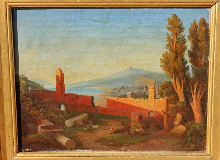 Sicilian landscape oil painting. View of Mount Etna from Taromina. Oil on canvas. Illegibly signed, circa 1860s.