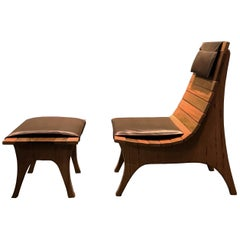 """Tapajós"" Armchair with Ottoman in Amazonian Rare Wood and Eco Leather"