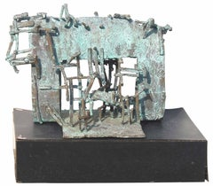 "Home, Bronze, Abstract Sculpture, Green Patina, Tapas Biswas Artist ""In Stock"""