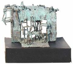"Home, Bronze, Abstract Sculpture, Green Patina, Tapas Biswas Artist ""In Stock"""