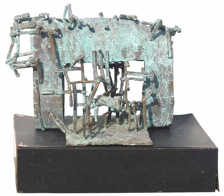Tapas Biswas - H : 7.5 x W : 10 x D : 6.5 Bronze Sculpture This work will be shipped in a Wooden Box  without the Stand.   A very Special Sculpture , Tapas weaves a mesh of Bronze to create a lovely abode and home. A small sculpture for one of his