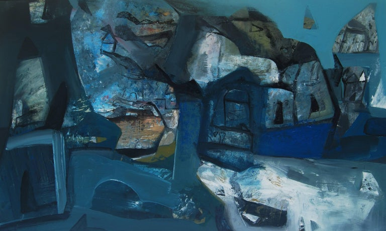 """Tapas Ghosal Interior Painting - Abstract, Acrylic, Dry Pastel, Pigment on Canvas,Blue by Indian Artist""""In Stock"""""""