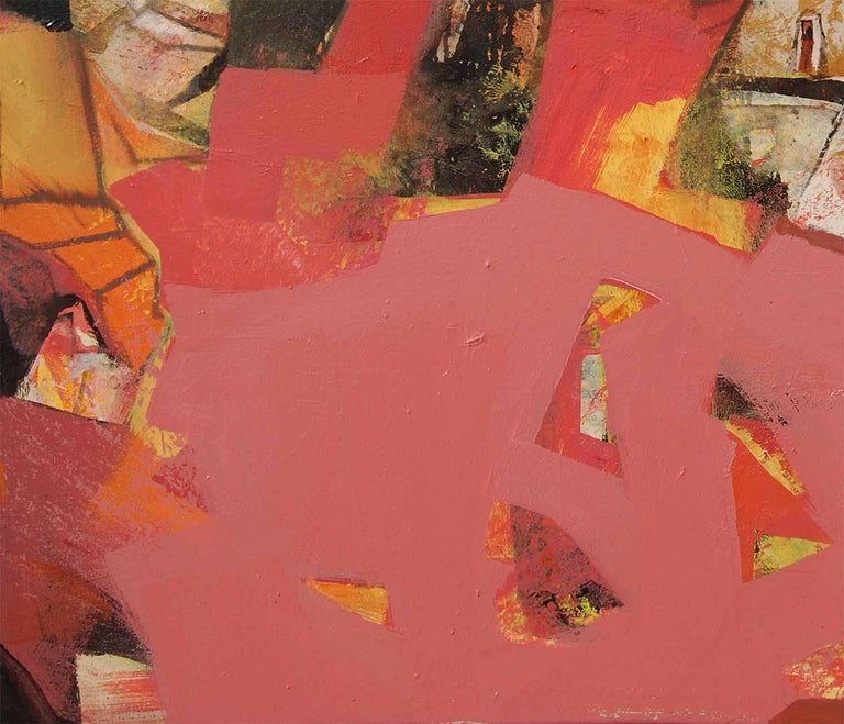 Abstract, Acrylic on Canvas, Pink, Red, Brown colors by Indian Artist