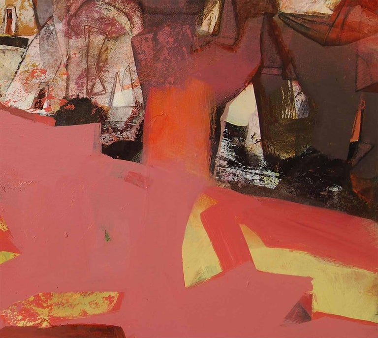Abstract, Acrylic on Canvas, Pink, Red, Brown by Contemporary Artist