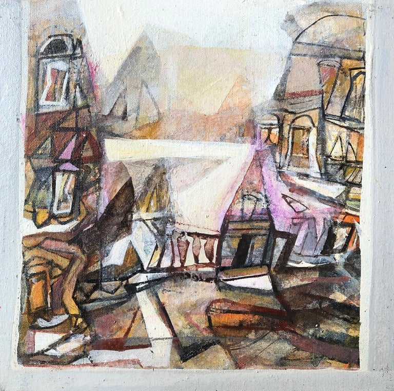 "Tapas Ghosal Abstract Painting - Benaras, Acrylic on Canvas, Brown, Pink, Yellow by Contemporary Artist""In Stock"""