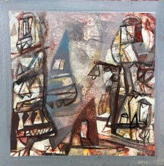 "Benaras, Acrylic on Canvas, Brown, Red, Blue by Contemporary Artist ""In Stock"""