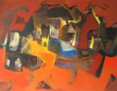 "Benaras, Cityscape, Acrylic on Canvas,Orange, Brown, Blue colors ""In Stock"""