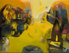"Benaras, Holy Cityscape, Acrylic on Canvas, Yellow, Brown colors ""In Stock"""