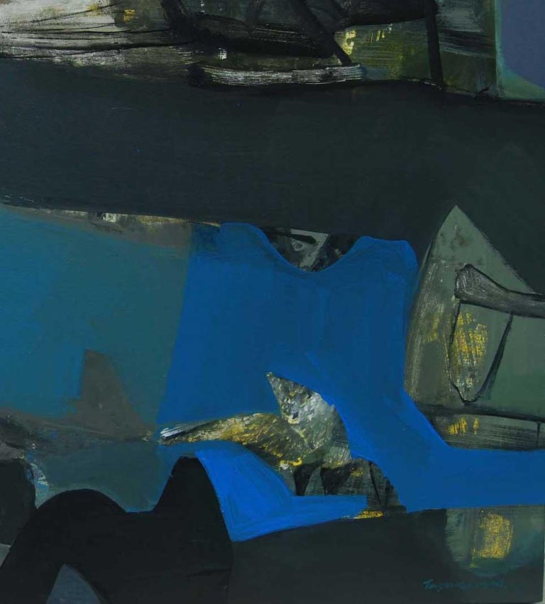 Benaras, Holy Indian Cityscape, Acrylic on Canvas Blue Black Colors