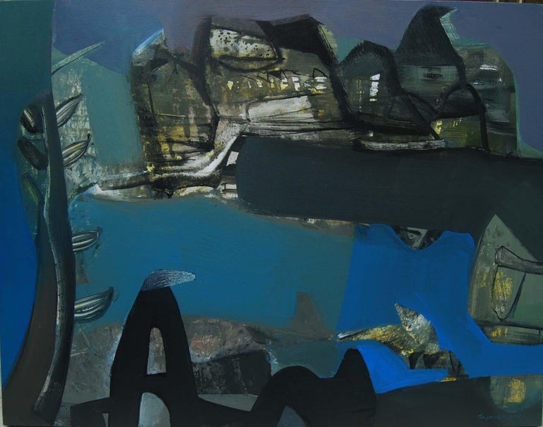 """Tapas Ghosal Abstract Painting - Benaras, Holy Indian Cityscape, Acrylic on Canvas Blue Black Colors """"In Stock"""""""