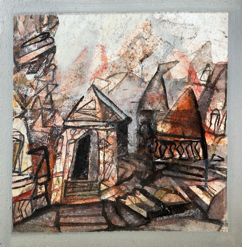 "Benaras Series, Acrylic on Canvas, Brown, Red by Contemporary Artist ""In Stock"""