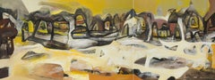 "Beneras, Diptych, Abstract, Acrylic on canvas, Yellow, Brown, White ""In Stock"""