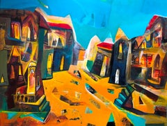 "Cityscape, Acrylic on Canvas, Blue, Brown, Red by Indian Artist ""In Stock"""