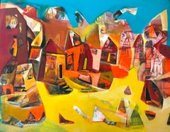 "Cityscape, Acrylic on Canvas, Blue, Yellow, Red by Indian Artist ""In Stock"""