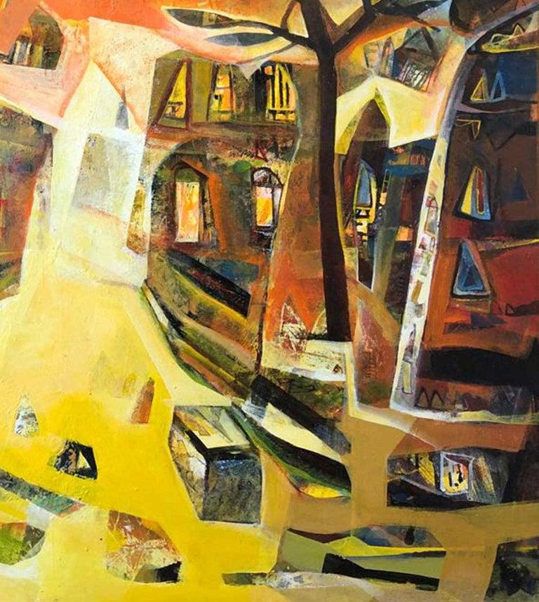 Cityscape, Benaras, Acrylic on Canvas, Yellow, Red, Blue, Indian Art
