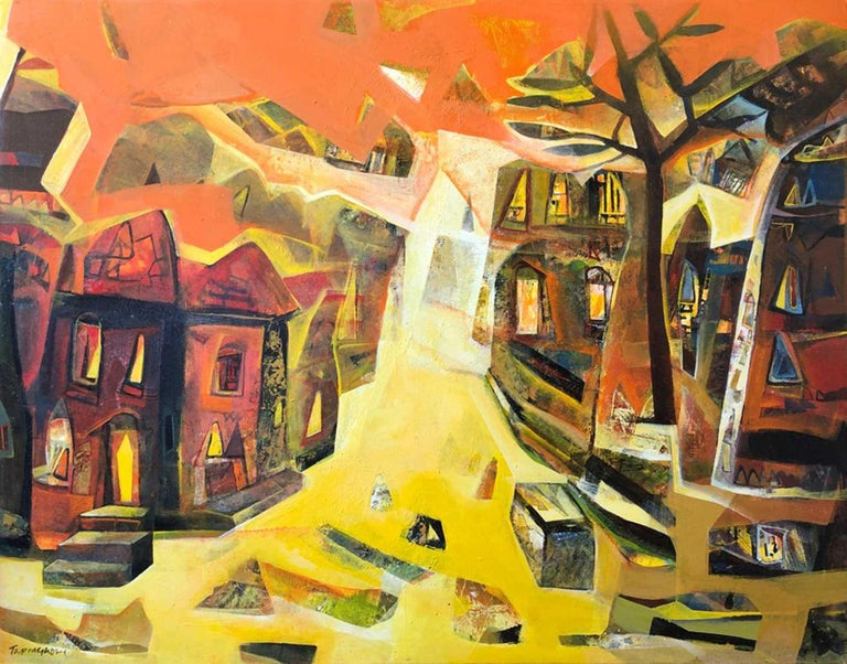 """Tapas Ghosal Abstract Painting - Cityscape, Benaras, Acrylic on Canvas, Yellow, Red, Blue, Indian Art """"In Stock"""""""